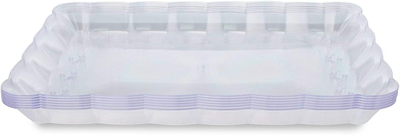 C/él/ébrations. Buffets cm Parfait pour les F/êtes L Ensemble de 6 Plateaux de Service Rectangulaires en Plastique Dur Jetables et R/éutilisables L Solide et Durable 32,4 x 23,8
