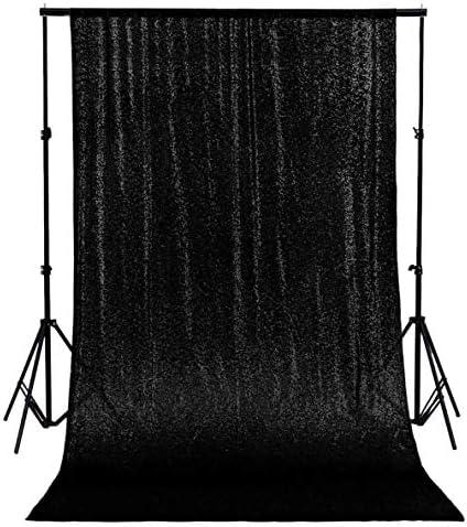 ShinyBeauty Sequin Backdrop 8x8ft Black Sequin Backdrop Curtain Sequin Curtain Panels Wedding Backdrop Curtain Fabric Sequin Curtains Glitter Backdrop