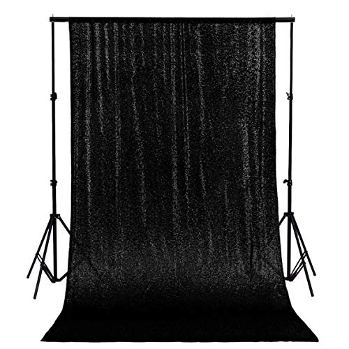 ShinyBeauty 20FTx10FT-Black-Sequin Backdrop, Photography Backdrop, Party Backdrop, Home Curtain Decoration (Black) -