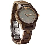 JORD Wooden Wrist Watches for Women - Frankie 35mm Series / Wood Watch Band / Wood Bezel / Analog Quartz Movement - Includes Wood Watch Box (Dark Sandalwood & Slate)
