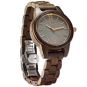 JORD Wooden Wrist Watches for Women - Frankie 35mm Series / Wood Watch Band / Wood Bezel / Analog Quartz Movement - Includes Wood Watch Box (Dark Sandalwood & Slate)