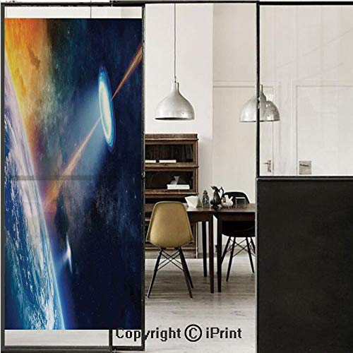 Outer Space Decor 3D Decorative Film Privacy Window Film No Glue,Frosted Film Decorative,UFO Shines Spotlight on Earth Secret Experiment Climate Change Terrestrial Fiction,for Home&Office,17.7x59Inch