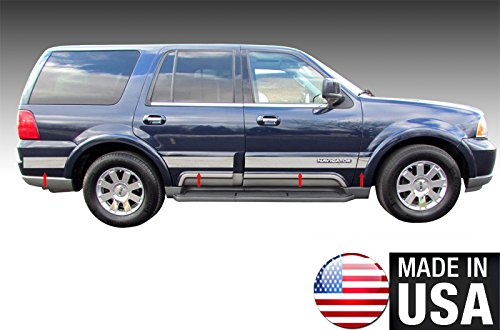 Made in USA! Works with 2003-2006 Lincoln Navigator with Logo Cutout Rocker Panel Chrome Stainless Steel Body Side Moulding Molding Trim Cover 4.5