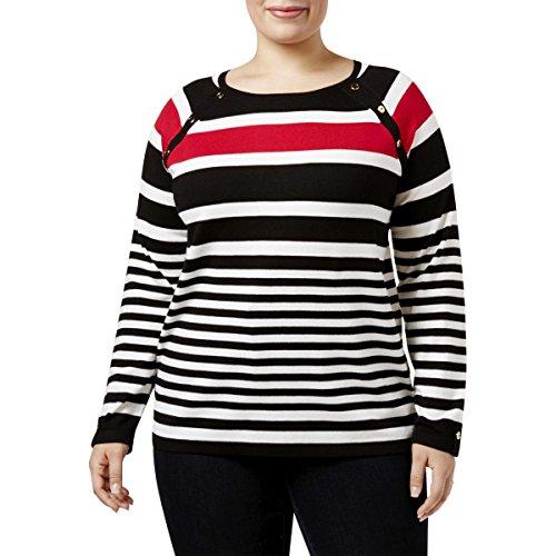 Jewel Neck Sweater - Karen Scott Womens Plus Striped Jewel Neck Pullover Sweater Black 3X