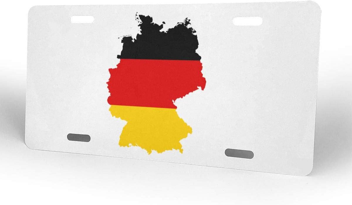 Talla /única Blanco 1 Unidad Paoseven Etiqueta de Aluminio Personalizable con dise/ño de Mapa de la Bandera de Alemania para matr/ícula de 15 x 30 cm