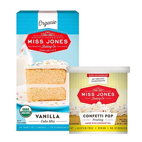 Miss Jones Baking Organic Vanilla Cake Mix with Confetti Pop Frosting (Pack of 2)