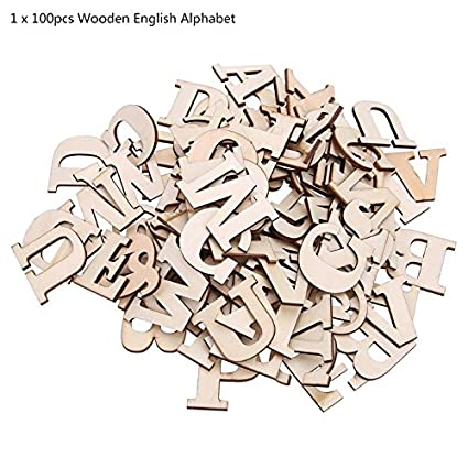 Popular Brand 100pcs 5cm Kids Diy Wood Wooden Alphabet Crafts Scrabble Letters Craft Jigsaw Puzzles Montessori Educational Toys For Children Blocks