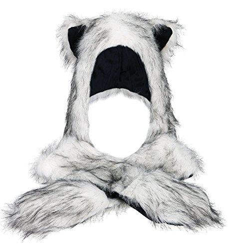 Faux Fur Animal Hoods With Attached Paws (Winter Warm Plush Faux Fur Animal Paws Hat Hoods Gloves)