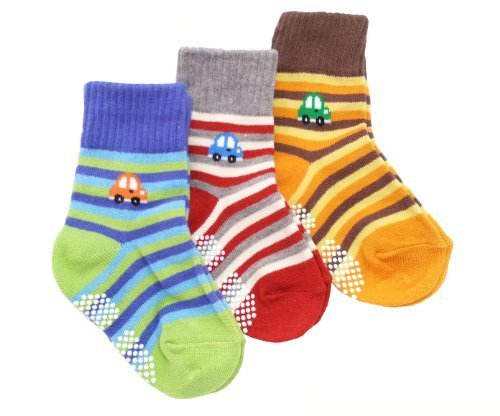 Baby Boy 3-Pack Thick Winter Socks - STRIPE CARS (AGE 6-12 12-18 18-24 MONTHS)