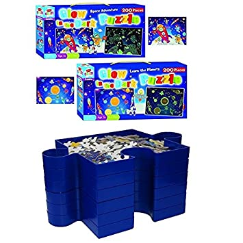 CrazyGadget® Jigsaw 6 Stackable Sorting Trays and Glow in the Dark Puzzle  Jigsaw 2 Boxes