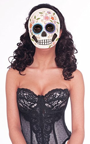 [Female Day of the Dead Mask with Ribbon Ties - dia de los Muertos] (Day Of The Dead Female Mask)
