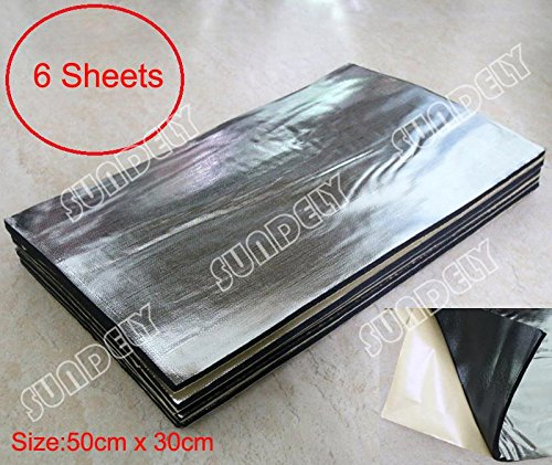 6 X SUNDELY 10mm Sound Proofing Deadening Vehicle Insulation Closed Cell Foam Sheet with Self Adhesive Backing 50cm x 30cm (19.7' X 11.8')