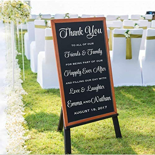 Personalized Wedding Thank You Decal, Welcome Wedding Vinyl Sticker, Wedding Ceremony Decorations, DECAL ONLY
