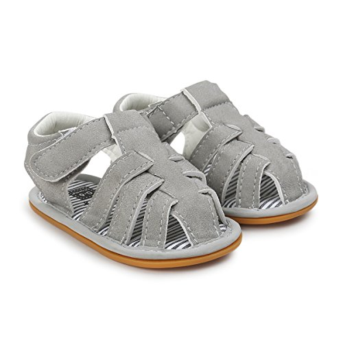 Save Beautiful Summer Baby Sandals Infant Boys Soft Sole Non-Slip First Walkers Shoes (4.72inches(6-12months), Style(C)-Gray)