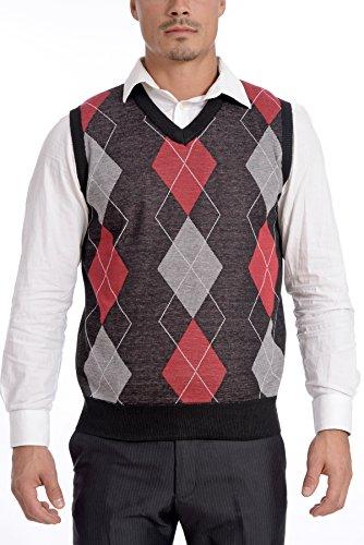 TR Fashion Men's Soft Stretch Argyle V-Neck Casual Pullover Vest (Grey/Red, Large)