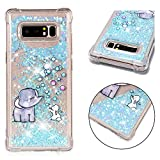 DAMONDY Galaxy Note 8 Case, 3D Cute Animal Pattern Bling Liquid Glitter Hybrid Heavy Duty Shockproof Bumper Floating Quicksand Diamond Flowing Soft TPU Case for Galaxy Note 8-Elephant