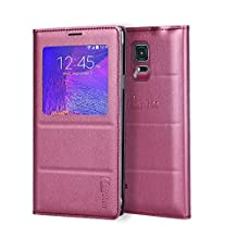 Galaxy Note 4 Case, Galaxy Note 4 S View Case, Huijukon Premium Leather S-View Flip Cover Folio Case[Clear View Window] for Samsung Galaxy Note 4 (TeaBurgundy)