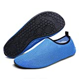 Sintiz Mesh Water Sports Shoes Barefoot Quick-Dry Aqua Socks for Swim Beach Pool Surf Yoga for Women Men Blue XXXXL(M:12-13)