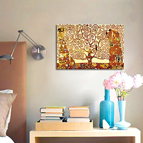 Zz1597 Wall Art Decoration Painting Gustav Klimt Big Tree: Tree Of Life Large Modern Stretched And Framed