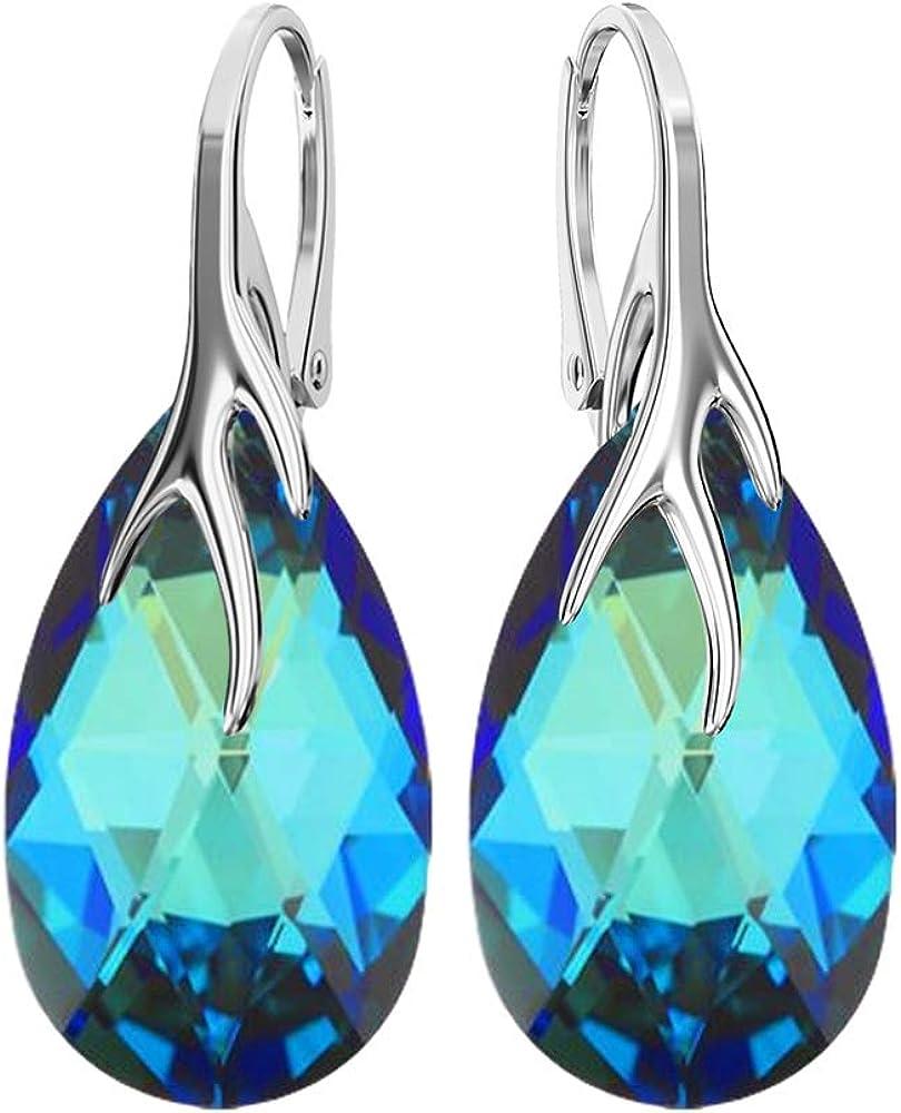Crystals & Stones *MANDEL* 22 mm * Colores variantes * Bonitos pendientes de plata 925 para mujer con cristales de Swarovski Elements – Fantásticos pendientes con caja de regalo BA/39