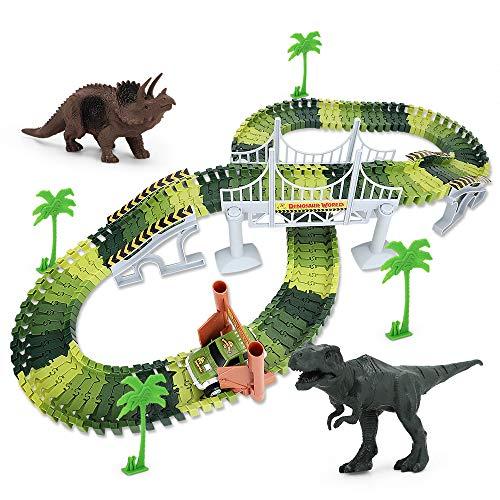 UTC Global Track Dinosaur World Bridge Create A Road 142 Piece Toy Car & Flexible Track Playset Toy Cars, 2 Dinosaurs ()