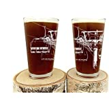 Ski Lift Pint Glasses - Set of Two 16oz. Beer Glasses