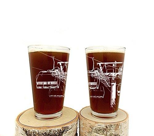 (Ski Lift Pint Glasses - Set of Two 16oz. Beer Glasses )