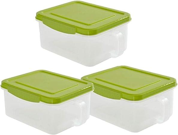 caja Caja De Almacenamiento De Cocina Contenedor De Almacenamiento De Alimentos Latas De PláStico Transparente Selladas - DiseñO De Mango Almacenamiento De Tuercas Frescas 3 Juegos - Reutilizables +: Amazon.es: Hogar