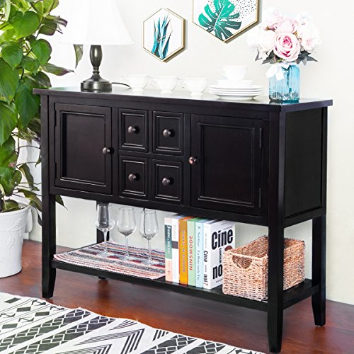 P PURLOVE Console Table Buffet Table Sideboard with Four Storage Drawers Two Cabinets and Bottom Shelf Espresso