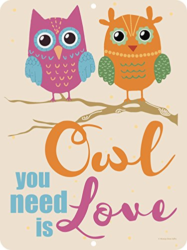 Owl You Need Is Love - 9 x 12 inch Metal Aluminum Novelty Sign Decore - Made in the (Room Tin)