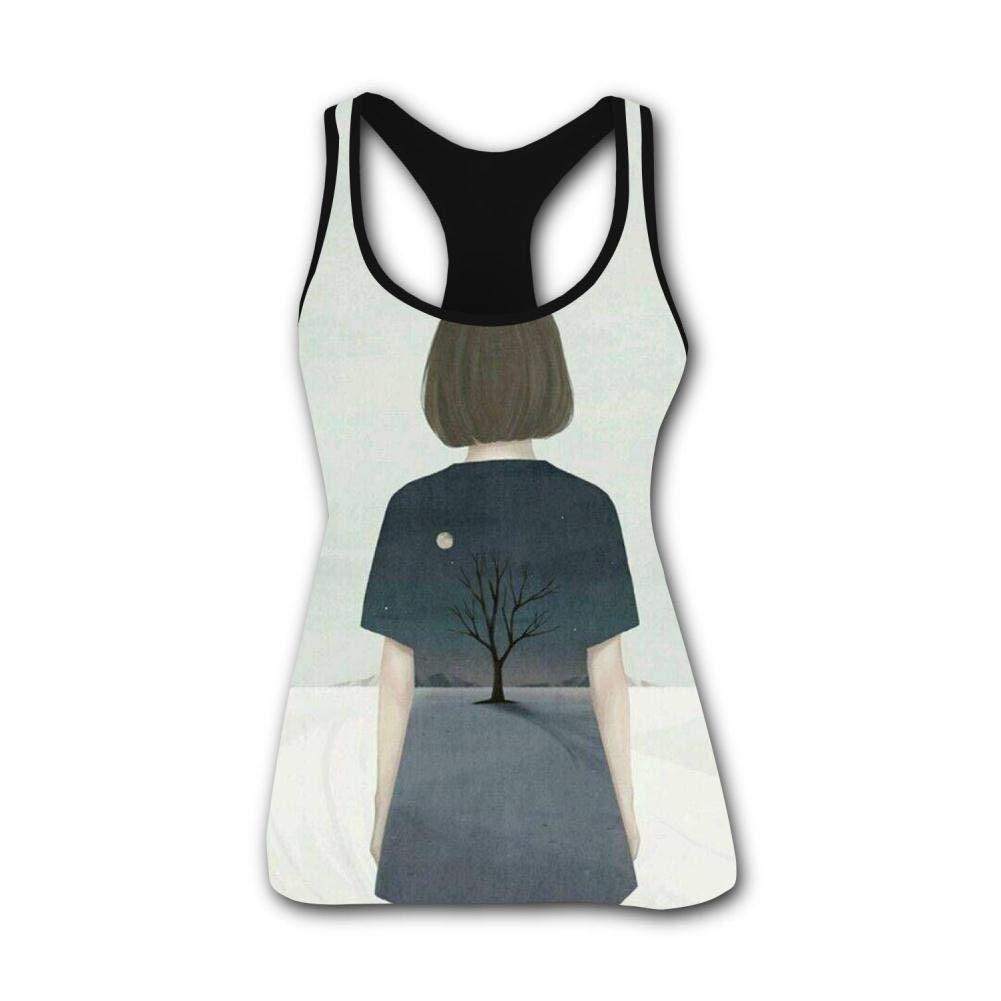 Lonely Girl's Inside 3D Print Summer Fashion Sleeveless Tanks Vest Top Women Girl M