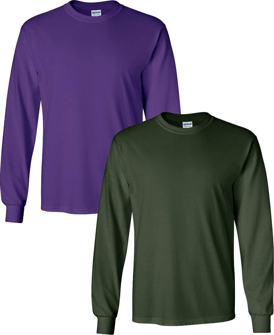 Gildan Men's Ultra Cotton Adult Long Sleeve T-Shirt Pack of 2Purple-ForestGreen Large