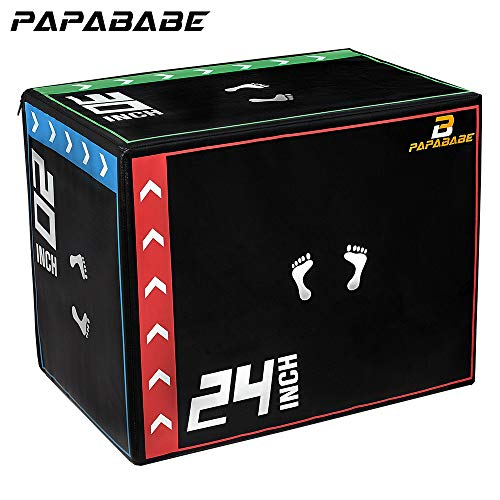 PAPABABE 3 in 1 20 x 24 x 30 Foam Plyometric Box Jumping Exercise