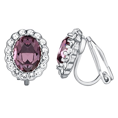 Yoursfs Amethyst Earrings Light Purple Oval Shape Non-Pierced Bridal Clip Earrings Women Jewelry Oval Shape Austrian Crystals