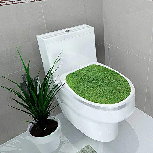 Auraise-home Waterproof self-Adhesive Green Grass Soccer Football Field Stadium Grass Toilet Seat Vinyl Art Stickers W15 x L17