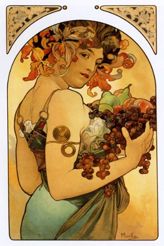 FASHION GIRL GRAPES FRUITS APPLES BY ALPHONSE MUCHA LARGE VINTAGE POSTER REPRO