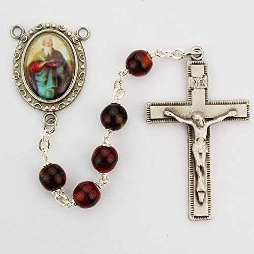 (St. Matthew 7mm Red Bead Pewter Rosary. Deluxe Gift Boxed)