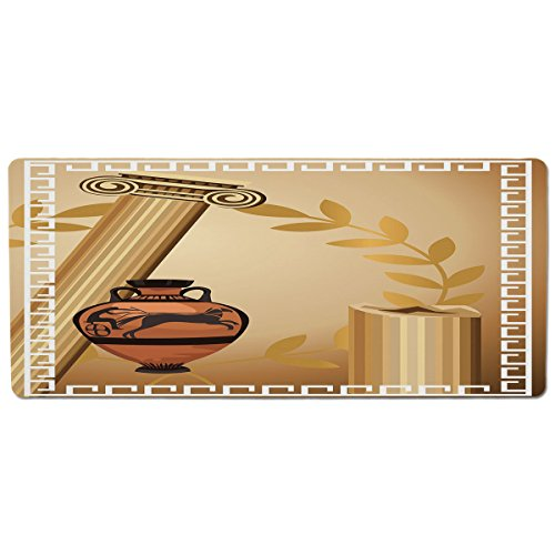 iPrint Pet Mat for Food and Water,Toga Party,Antique Greek Columns Vase Olive Branch Hellenic Heritage Icons,Light Brown Cinnamon White,Rectangle Non-Slip Rubber Mat for Dogs and Cats