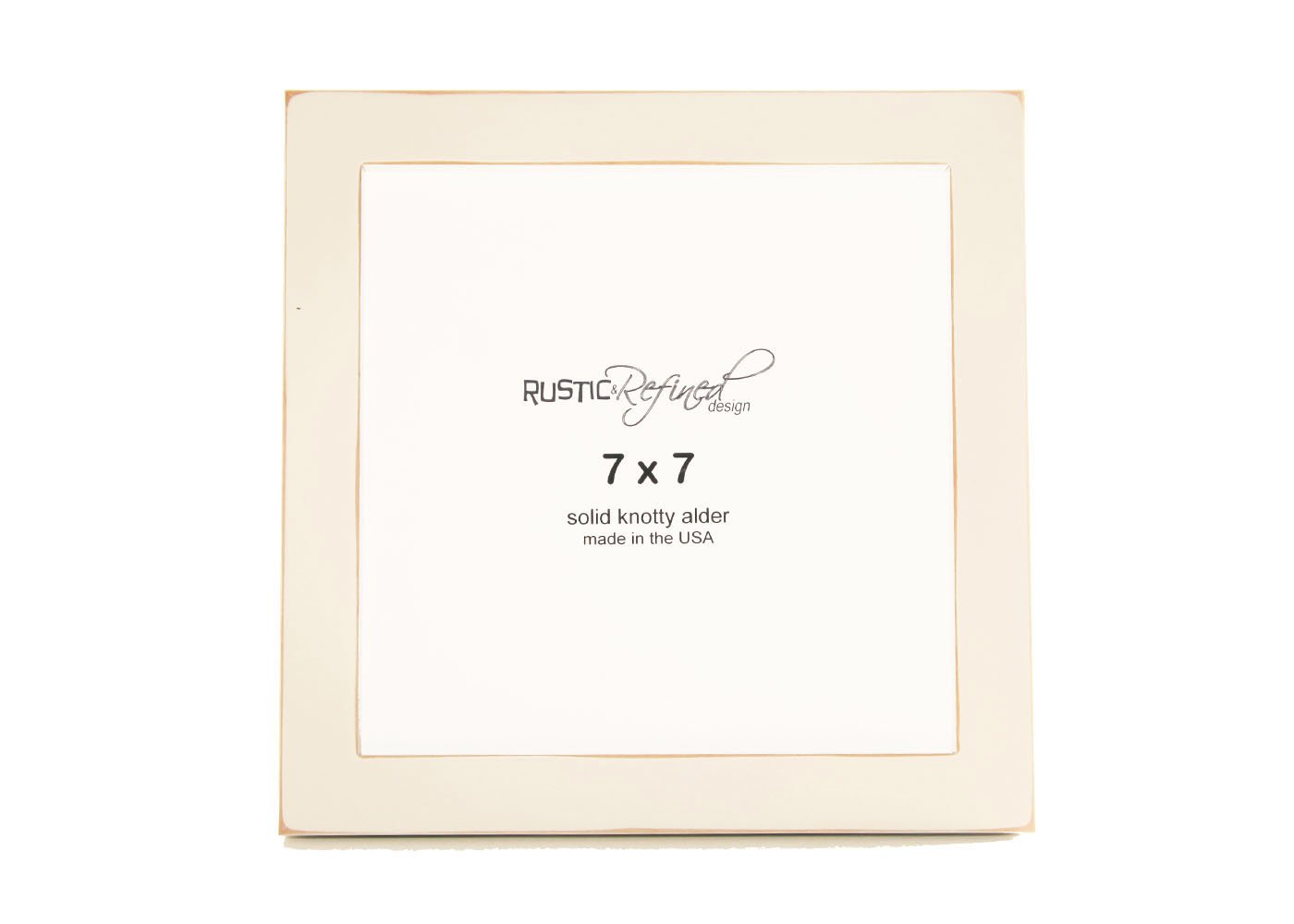7x7 Solid Wood Made in USA Picture Frame with 1 Inch Border (Gallery Collection) - Off White