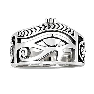 AeraVida Egyptian Eye of Horus Ankh Cross Sterling Silver Ring