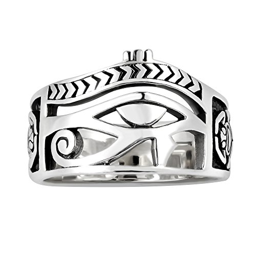 Egyptian Eye of Horus Ankh Cross Sterling Silver Ring