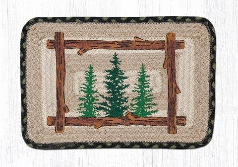 10''x15'' Black/Cream Tall Timbers Oblong Placemat, Set of 4