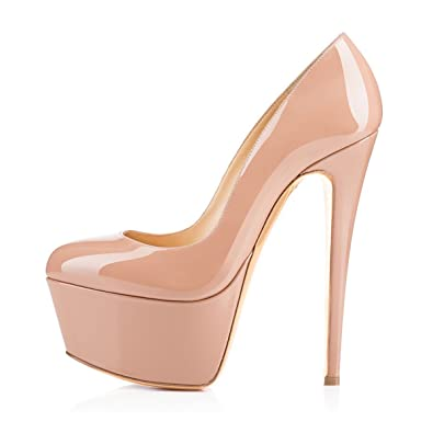 88abb1eb66 Women Round Toe 160mm Covered Stiletto High Heels with 60mm Platform Pumps  Slip On Dress Shoes