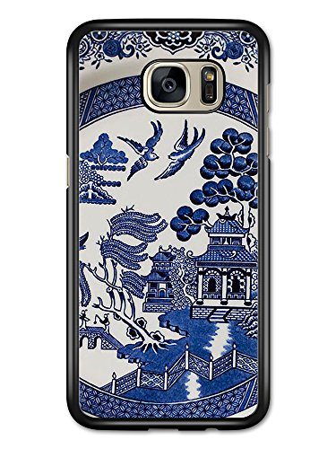 (Blue Porcelain Style Hand Painted Asian Inspired Design with Doves case for Samsung Galaxy S7 Edge)