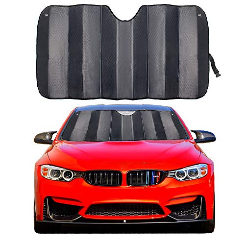 (MCBUTY Car Windshield Sunshade Thicken 5-Layer UV Reflector Auto Front Window Sun Shade Visor Shield Cover,Keep Vehicle Cool(Gary,55