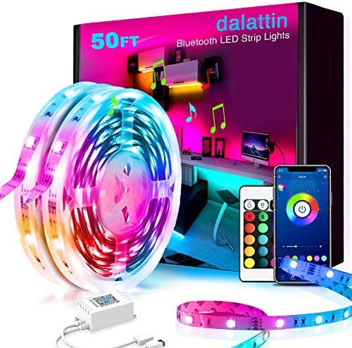50ft Led Lights Bluetooth dalattin Led Lights for Bedroom with App Control Music Sync Smart Led Strip Lights Color Changing Lights,2 Rolls of 25ft