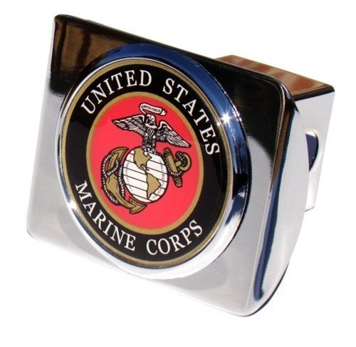 US Marine Corps Seal Chrome Metal Trailer Hitch Cover with Metal (Usmc Seal)