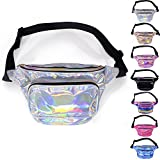 LEADO Holographic Fanny Pack Waterproof Fanny Packs for Women and Men, 80s Waist Pack Fashion Bum Bag for Festival, Rave, Party, Trip (Silver)