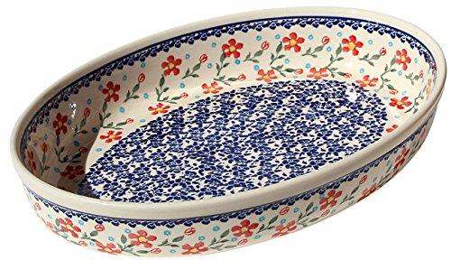 Boleslawiec Stoneware (Polish Pottery Oval Baker From Zaklady Ceramiczne Boleslawiec #350-964 Classic Pattern, Width: 12