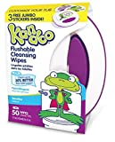 Flushable Baby Wipes and Refillable Container for Kids by Kandoo, Hypoallergenic Potty Training Cleansing Cloths for Sensitive Skin, Unscented, 50 ct Wipes and Refillable Plastic Tub, Pack of 6